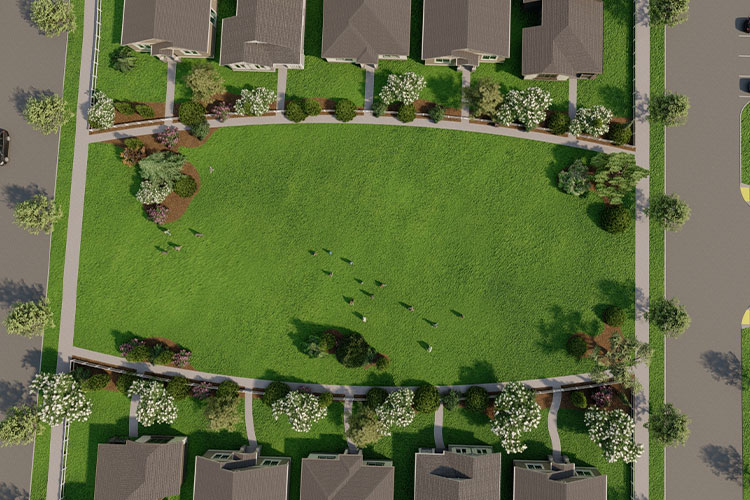 An aerial view of a greenspace in the Petrosa community